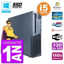 PC Lenovo ThinkCentre M82 SFF i5-3470 RAM 16Go SSD 120Go Graveur DVD Wifi W7