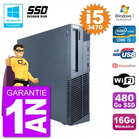 PC Lenovo ThinkCentre M82 SFF i5-3470 RAM 16Go SSD 480Go Graveur DVD Wifi W7