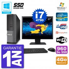 """PC Dell 3020 SFF Ecran 27"""" Intel i7-4790 RAM 4Go SSD 960Go Graveur DVD Wifi W7"""