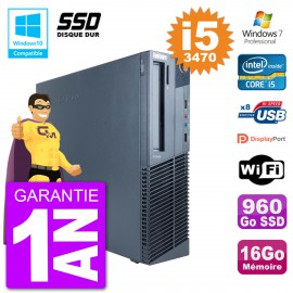 PC Lenovo ThinkCentre M82 SFF i5-3470 RAM 16Go SSD 960Go Graveur DVD Wifi W7