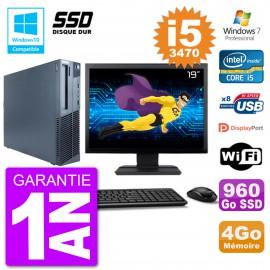 "PC Lenovo M82 SFF Ecran 19"" i5-3470 RAM 4Go SSD 960Go Graveur DVD Wifi W7"