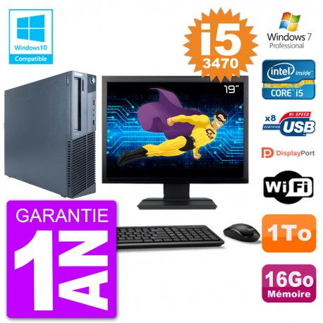 "PC Lenovo M82 SFF Ecran 19"" i5-3470 RAM 16Go Disque 1To Graveur DVD Wifi W7"