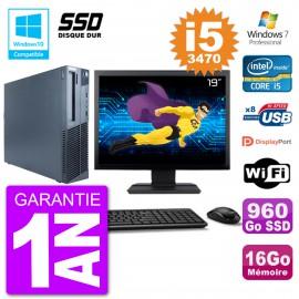 "PC Lenovo M82 SFF Ecran 19"" i5-3470 RAM 16Go SSD 960Go Graveur DVD Wifi W7"