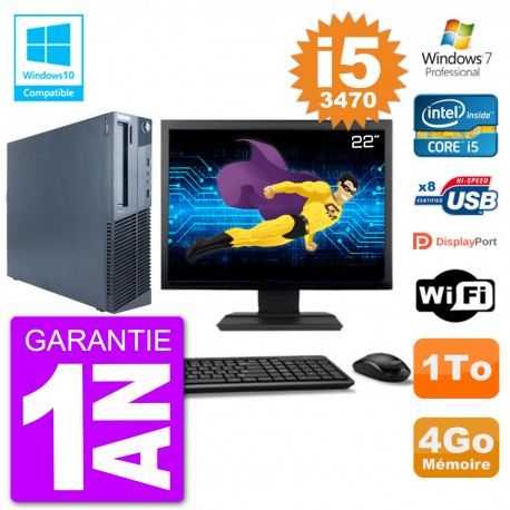 "PC Lenovo M82 SFF Ecran 22"" i5-3470 RAM 4Go Disque 1To Graveur DVD Wifi W7"