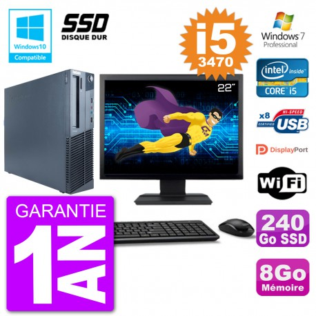 "PC Lenovo M82 SFF Ecran 22"" i5-3470 RAM 8Go SSD 240Go Graveur DVD Wifi W7"
