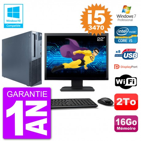 "PC Lenovo M82 SFF Ecran 22"" i5-3470 RAM 16Go Disque 2To Graveur DVD Wifi W7"