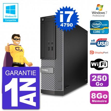 PC Dell 3020 SFF Intel i7-4790 RAM 8Go Disque 250Go Graveur DVD Wifi W7