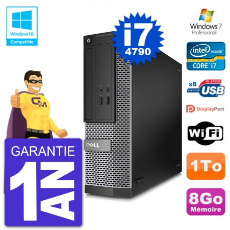 PC Dell 3020 SFF Intel i7-4790 RAM 8Go Disque 1To Graveur DVD Wifi W7