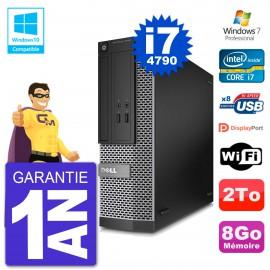 PC Dell 3020 SFF Intel i7-4790 RAM 8Go Disque 2To Graveur DVD Wifi W7