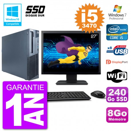 "PC Lenovo M82 SFF Ecran 27"" i5-3470 RAM 8Go SSD 240Go Graveur DVD Wifi W7"