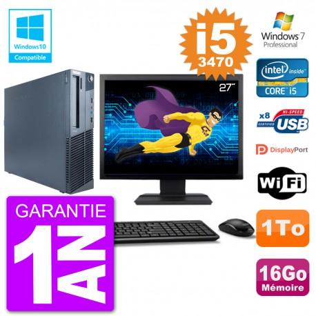 "PC Lenovo M82 SFF Ecran 27"" i5-3470 RAM 16Go Disque 1To Graveur DVD Wifi W7"