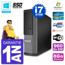 PC Dell 3020 SFF Intel i7-4790 RAM 8Go SSD 960Go Graveur DVD Wifi W7