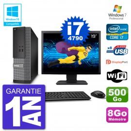 """PC Dell 3020 SFF Ecran 19"""" Intel i7-4790 RAM 8Go Disque 500Go Graveur DVD Wifi W7"""