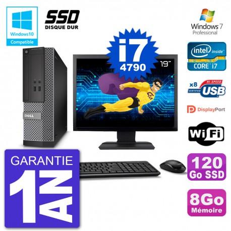 """PC Dell 3020 SFF Ecran 19"""" Intel i7-4790 RAM 8Go SSD 120Go Graveur DVD Wifi W7"""