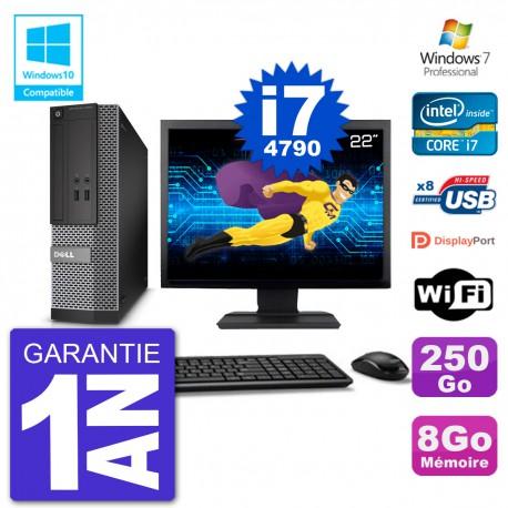 """PC Dell 3020 SFF Ecran 22"""" Intel i7-4790 RAM 8Go Disque 250Go Graveur DVD Wifi W7"""