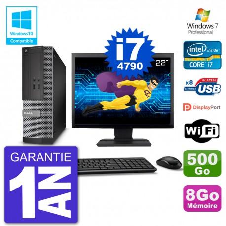 """PC Dell 3020 SFF Ecran 22"""" Intel i7-4790 RAM 8Go Disque 500Go Graveur DVD Wifi W7"""