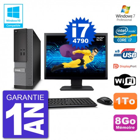 """PC Dell 3020 SFF Ecran 22"""" Intel i7-4790 RAM 8Go Disque 1To Graveur DVD Wifi W7"""