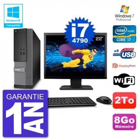 """PC Dell 3020 SFF Ecran 22"""" Intel i7-4790 RAM 8Go Disque 2To Graveur DVD Wifi W7"""