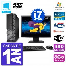 """PC Dell 3020 SFF Ecran 22"""" Intel i7-4790 RAM 8Go SSD 480Go Graveur DVD Wifi W7"""