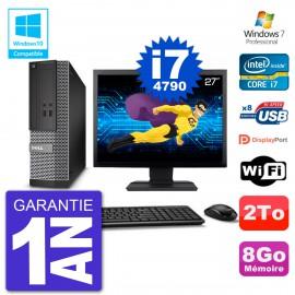 """PC Dell 3020 SFF Ecran 27"""" Intel i7-4790 RAM 8Go Disque 2To Graveur DVD Wifi W7"""