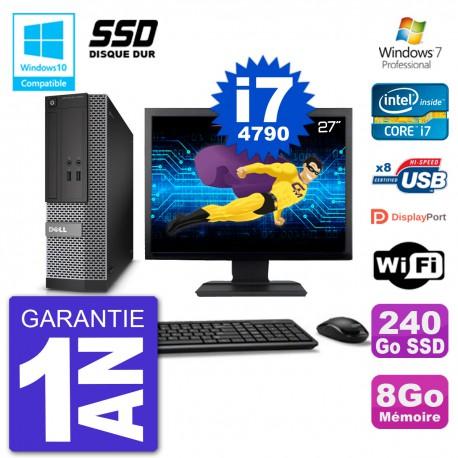 """PC Dell 3020 SFF Ecran 27"""" Intel i7-4790 RAM 8Go SSD 240Go Graveur DVD Wifi W7"""