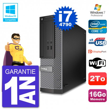 PC Dell 3020 SFF Intel i7-4790 RAM 16Go Disque 2To Graveur DVD Wifi W7