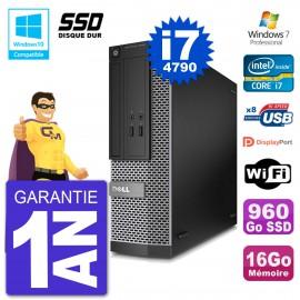 PC Dell 3020 SFF Intel i7-4790 RAM 16Go SSD 960Go Graveur DVD Wifi W7