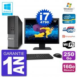 """PC Dell 3020 SFF Ecran 19"""" Intel i7-4790 RAM 16Go Disque 250Go Graveur DVD Wifi W7"""