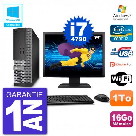 """PC Dell 3020 SFF Ecran 19"""" Intel i7-4790 RAM 16Go Disque 1To Graveur DVD Wifi W7"""