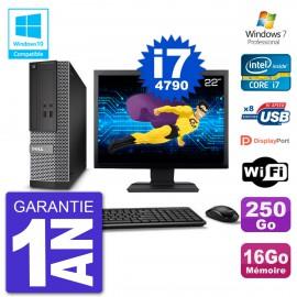 """PC Dell 3020 SFF Ecran 22"""" Intel i7-4790 RAM 16Go Disque 250Go Graveur DVD Wifi W7"""