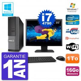 """PC Dell 3020 SFF Ecran 22"""" Intel i7-4790 RAM 16Go Disque 1To Graveur DVD Wifi W7"""