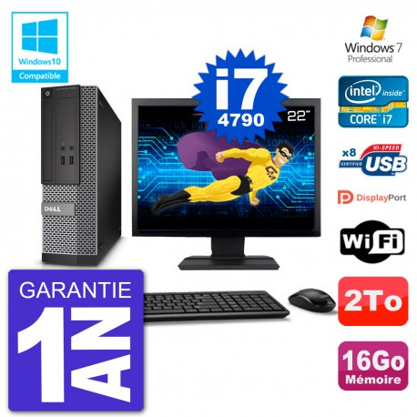 """PC Dell 3020 SFF Ecran 22"""" Intel i7-4790 RAM 16Go Disque 2To Graveur DVD Wifi W7"""