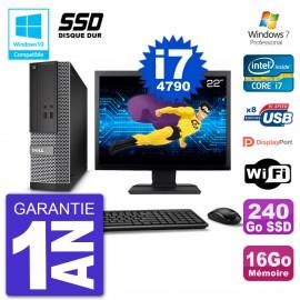 """PC Dell 3020 SFF Ecran 22"""" Intel i7-4790 RAM 16Go SSD 240Go Graveur DVD Wifi W7"""