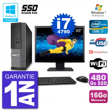 """PC Dell 3020 SFF Ecran 22"""" Intel i7-4790 RAM 16Go SSD 480Go Graveur DVD Wifi W7"""