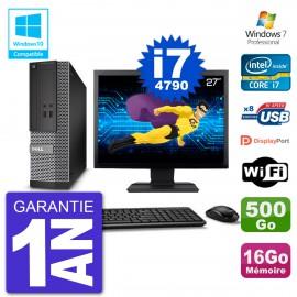 """PC Dell 3020 SFF Ecran 27"""" Intel i7-4790 RAM 16Go Disque 500Go Graveur DVD Wifi W7"""