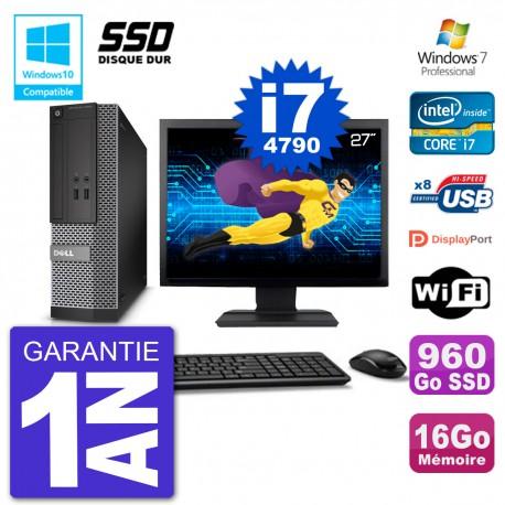 """PC Dell 3020 SFF Ecran 27"""" Intel i7-4790 RAM 16Go SSD 960Go Graveur DVD Wifi W7"""