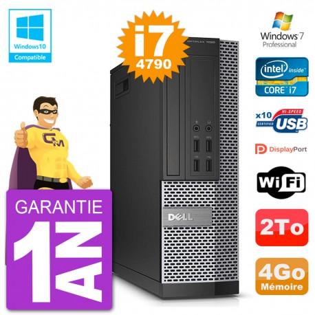 PC Dell 7020 SFF Intel i7-4790 RAM 4Go Disque 2To Graveur DVD Wifi W7