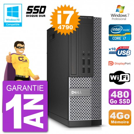 PC Dell 7020 SFF Intel i7-4790 RAM 4Go SSD 480Go Graveur DVD Wifi W7
