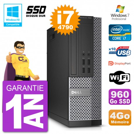 PC Dell 7020 SFF Intel i7-4790 RAM 4Go SSD 960Go Graveur DVD Wifi W7