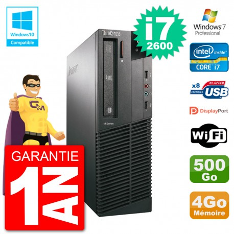 PC Lenovo ThinkCentre M82 SFF i7-2600 RAM 4Go Disque 500Go Graveur DVD Wifi W7