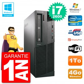 PC Lenovo ThinkCentre M82 SFF i7-2600 RAM 4Go Disque Dur 1To Graveur DVD Wifi W7