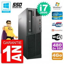PC Lenovo ThinkCentre M82 SFF i7-2600 RAM 4Go SSD 480Go Graveur DVD Wifi W7