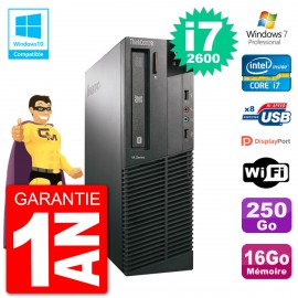 PC Lenovo ThinkCentre M82 SFF i7-2600 RAM 16Go Disque 250Go Graveur DVD Wifi W7