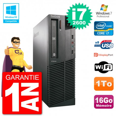 PC Lenovo ThinkCentre M82 SFF i7-2600 RAM 16Go Disque 1To Graveur DVD Wifi W7