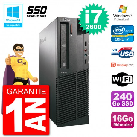 PC Lenovo ThinkCentre M82 SFF i7-2600 RAM 16Go SSD 240Go Graveur DVD Wifi W7