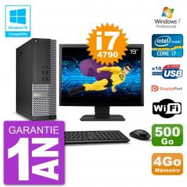 """PC Dell 7020 SFF Ecran 19"""" Intel i7-4790 RAM 4Go Disque 500Go Graveur DVD Wifi W7"""
