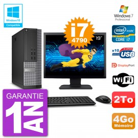 """PC Dell 7020 SFF Ecran 19"""" Intel i7-4790 RAM 4Go Disque 2To Graveur DVD Wifi W7"""