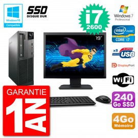 "PC Lenovo M82 SFF Ecran 19"" i7-2600 RAM 4Go SSD 240Go Graveur DVD Wifi W7"