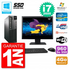 "PC Lenovo M82 SFF Ecran 19"" i7-2600 RAM 4Go SSD 960Go Graveur DVD Wifi W7"