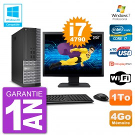 """PC Dell 7020 SFF Ecran 22"""" Intel i7-4790 RAM 4Go Disque 1To Graveur DVD Wifi W7"""